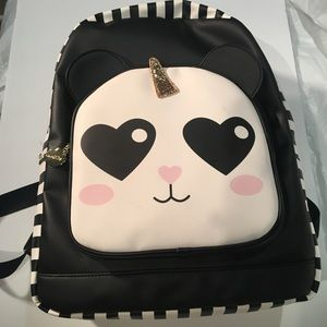 Betsy Johnson Unicorn Panda Leather Bookbag Stripe